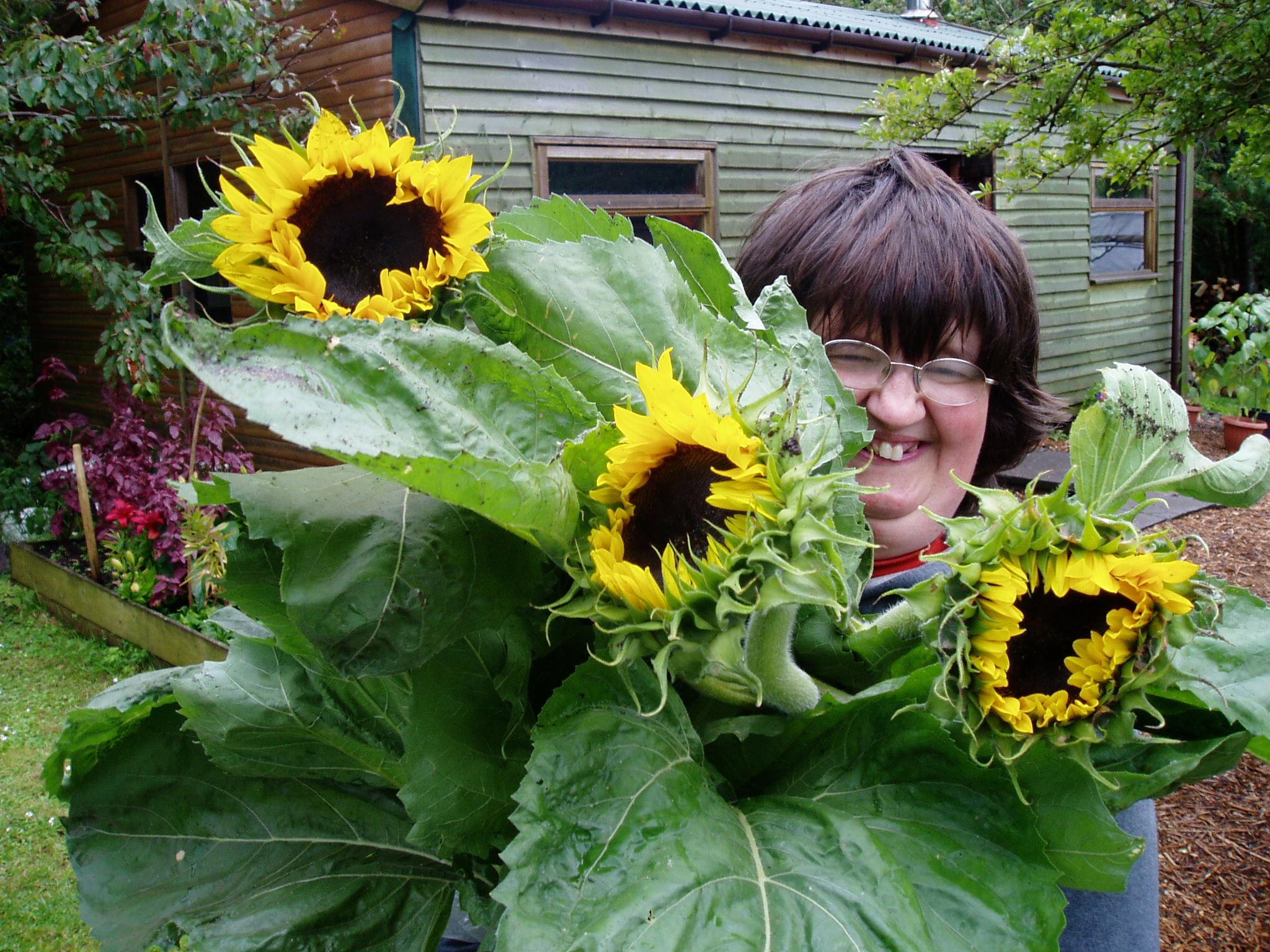 resident holding sunflowers