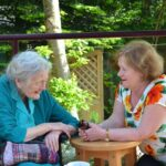 Maureen Watt MSP and resident chat at Simeon