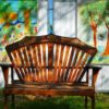 Wooden bench and mural