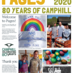 Pages front cover with rainbow, baking, painted eggs and an old black and white image of people