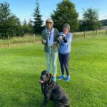 Kirsten, mum and dog having a walk with Mack and Mickey Mouse